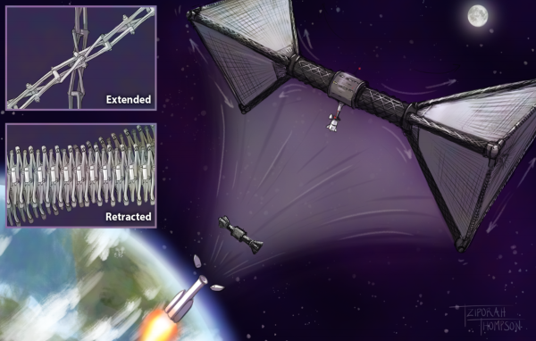 drawing showing a structure emerge from the top of a rocket and expand like origami into a dumbbell-shaped space station