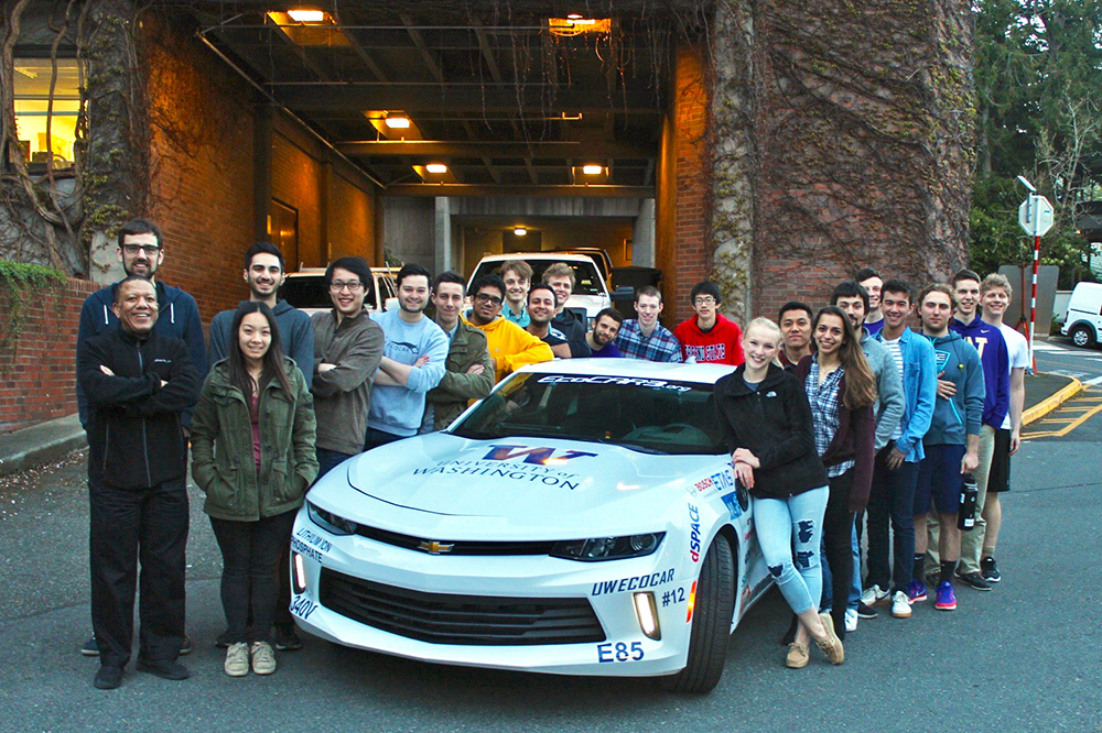 EcoCAR students with their modified Camaro