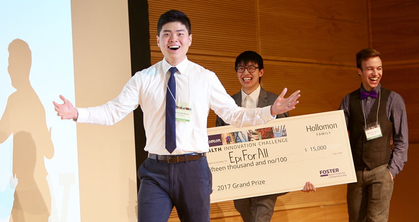 EpiForAll winners with prize check
