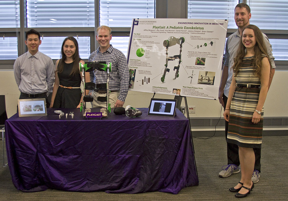 The PlayGait team standing with their device