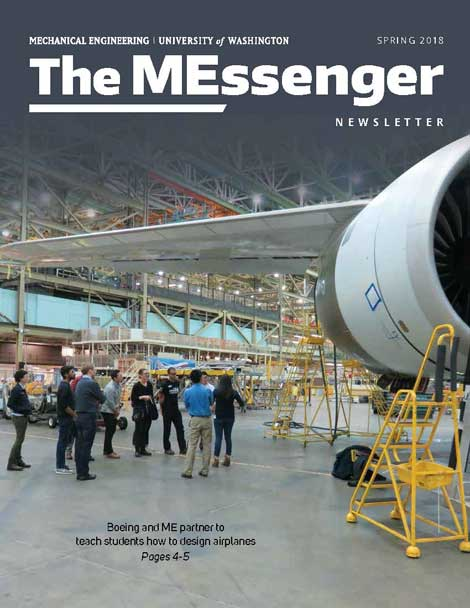 Cover of MEssenger newsletter with photo of ME students in a Boeing plant