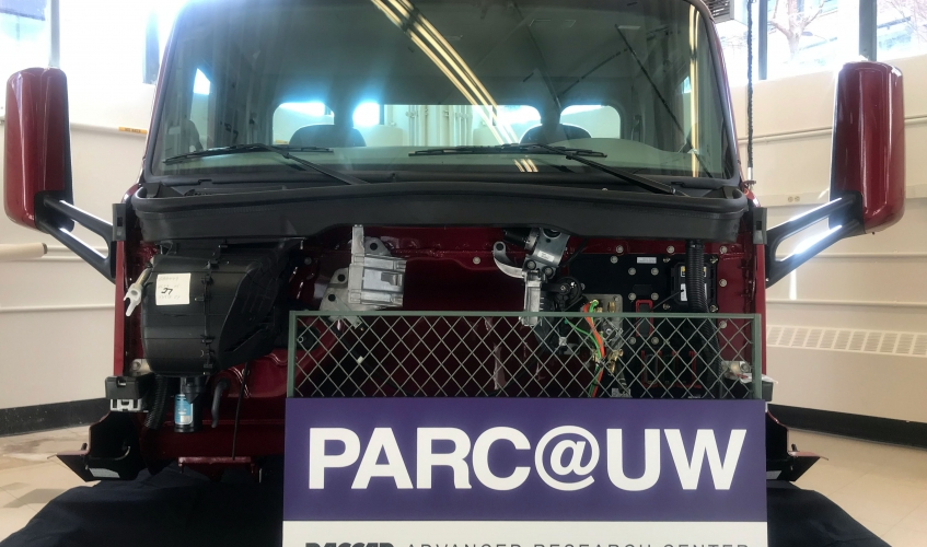"A truck with a sign that says ""PARC@UW PACCAR ADVANCED RESEARCH CENTER"""