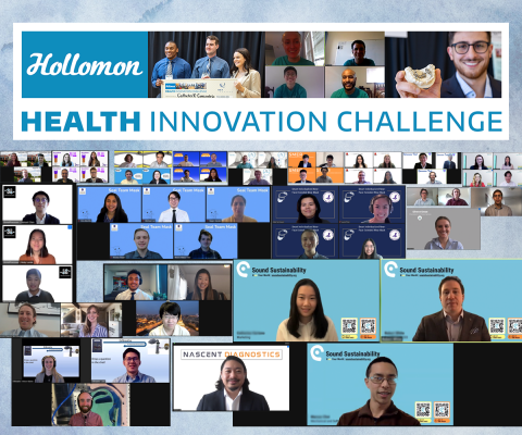 "A banner that says ""health innovation challenge"" and a lot of screenshots from video chats"