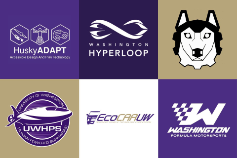 A collage of six student clubs logos