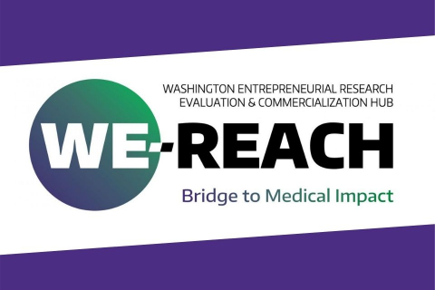 logo for the Washington Entrepreneurial Research Evaluation and Commercialization Hub (WE-REACH)