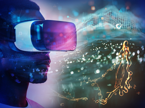 Artistic rendering of a person wearing a VR headset, shown from the neck up, with swirls of color and things around him