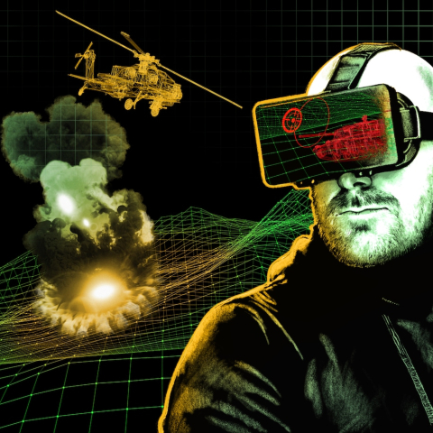 On the right is a man with a short beard and wearing a VR headset, to the left is a helicopter flying over an explosion drawn in yellow and black to make it look like he's seeing that simulation in VR