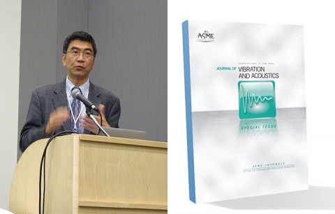 Steve Shen at a podium on left and the cover of the Journal of Vibrations and Acoustics on right